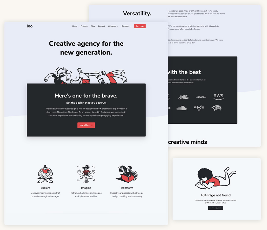 Leo - Agency Bootstrap 4 Template Preview