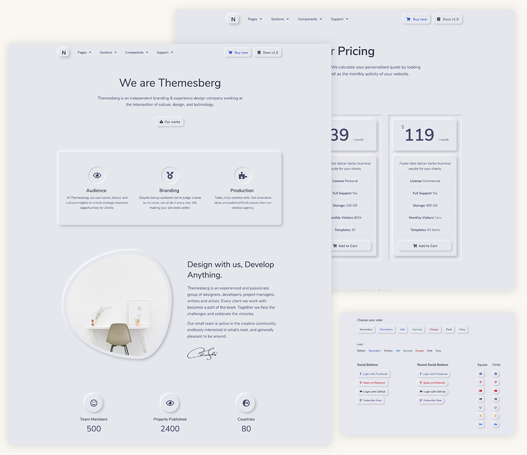 Neumorphism UI PRO Bootstrap Preview