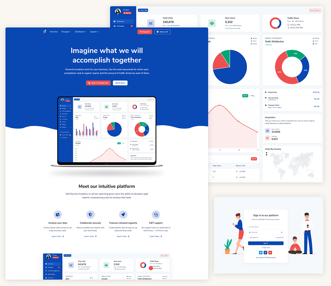 Rocket – SaaS Bootstrap Template Preview