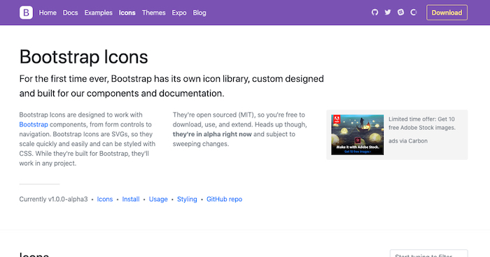 Bootstrap Free Icon Library
