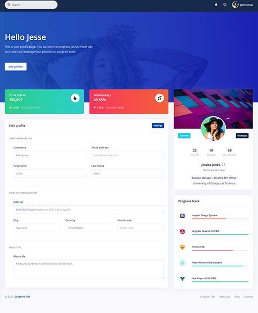 Dashboard Profile preview
