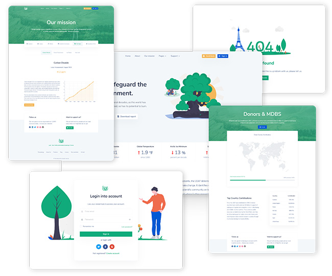 Leaf - Nonprofit Environmental Bootstrap 4 Template Preview