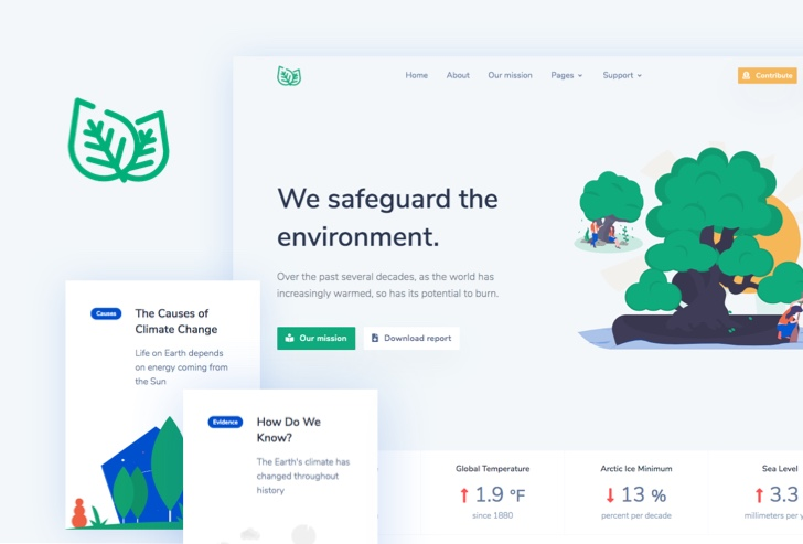 Leaf Non Profit Enviromental Web Template Preview