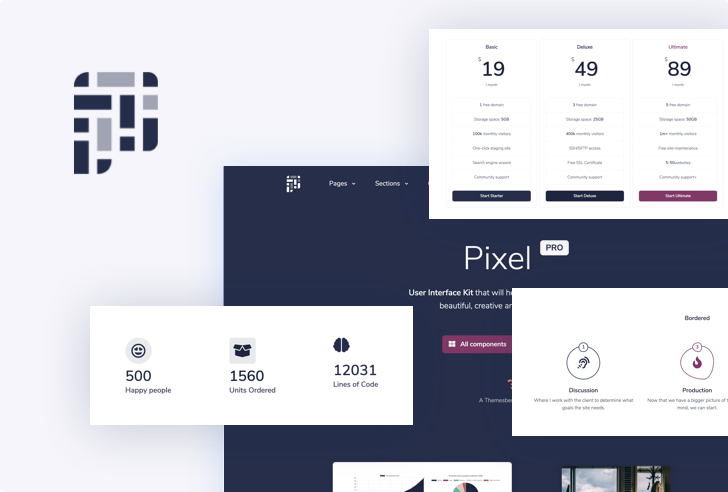 Pixel Pro - Premium Bootstrap 4 UI KIT Preview