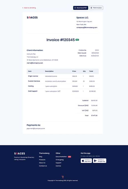 Invoice preview