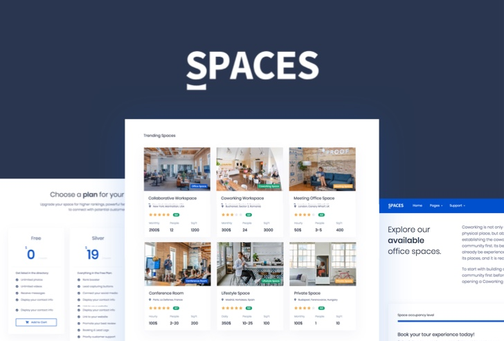 Spaces Co-Working Web Template Preview